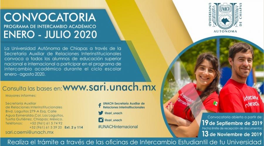 Convocatoria Abierta para Alumnos de Intercambio Académico Enero - Julio 2020